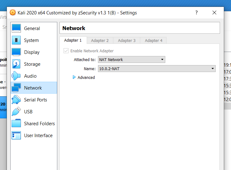 Network settings of Kali
